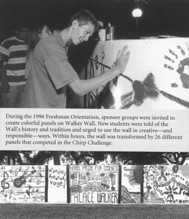 During the 1996 Freshman Orientation, sponsor groups created their own colorful panels on Walker Wall.