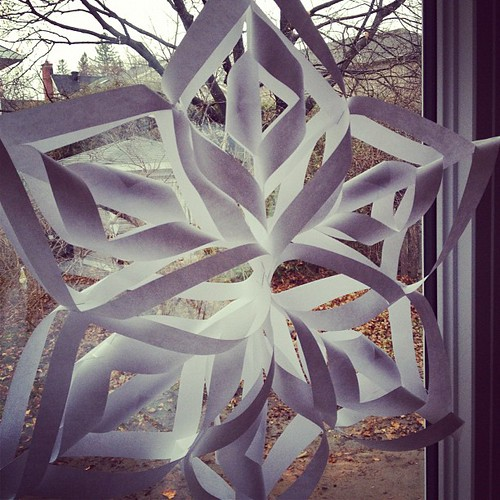 #FamilyAdvent day 3 -  making snowflakes, because we don't have any real ones yet