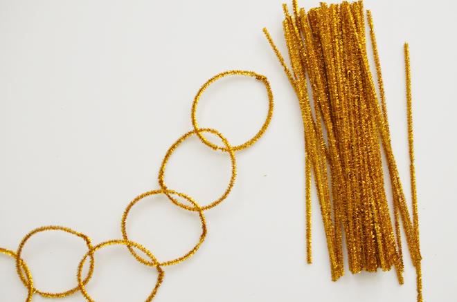 DIY: chenille stem shiny garland