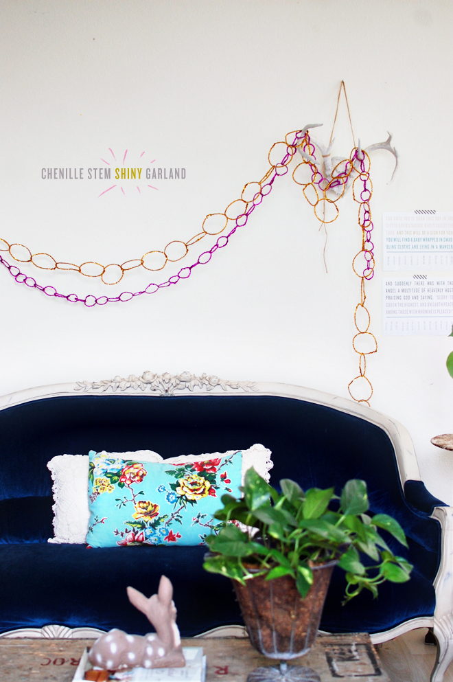 DIY: chenille stem shiny garland