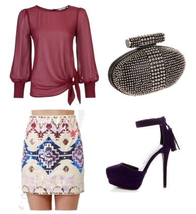 beaded print skirt outfit