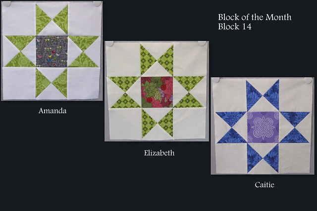 Three Quilt Blocks Featuring Similar Patterns, Different Colors