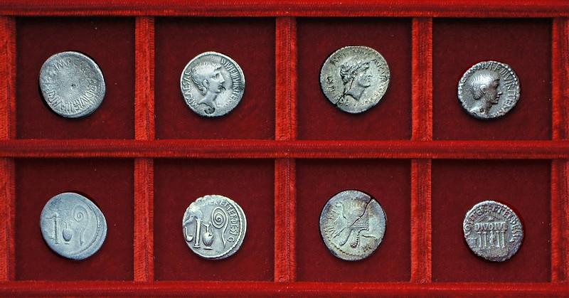 RRC 537 IMP CAESAR Octavian, RRC 538 IMP CAESAR Octavian, RRC 539 ANTON Antony Armenia, RRC 540 IMP CAESAR DIVO IVL Octavian, Ahala collection Roman Republic