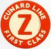 Cunard Line First Class Z Luggage Label