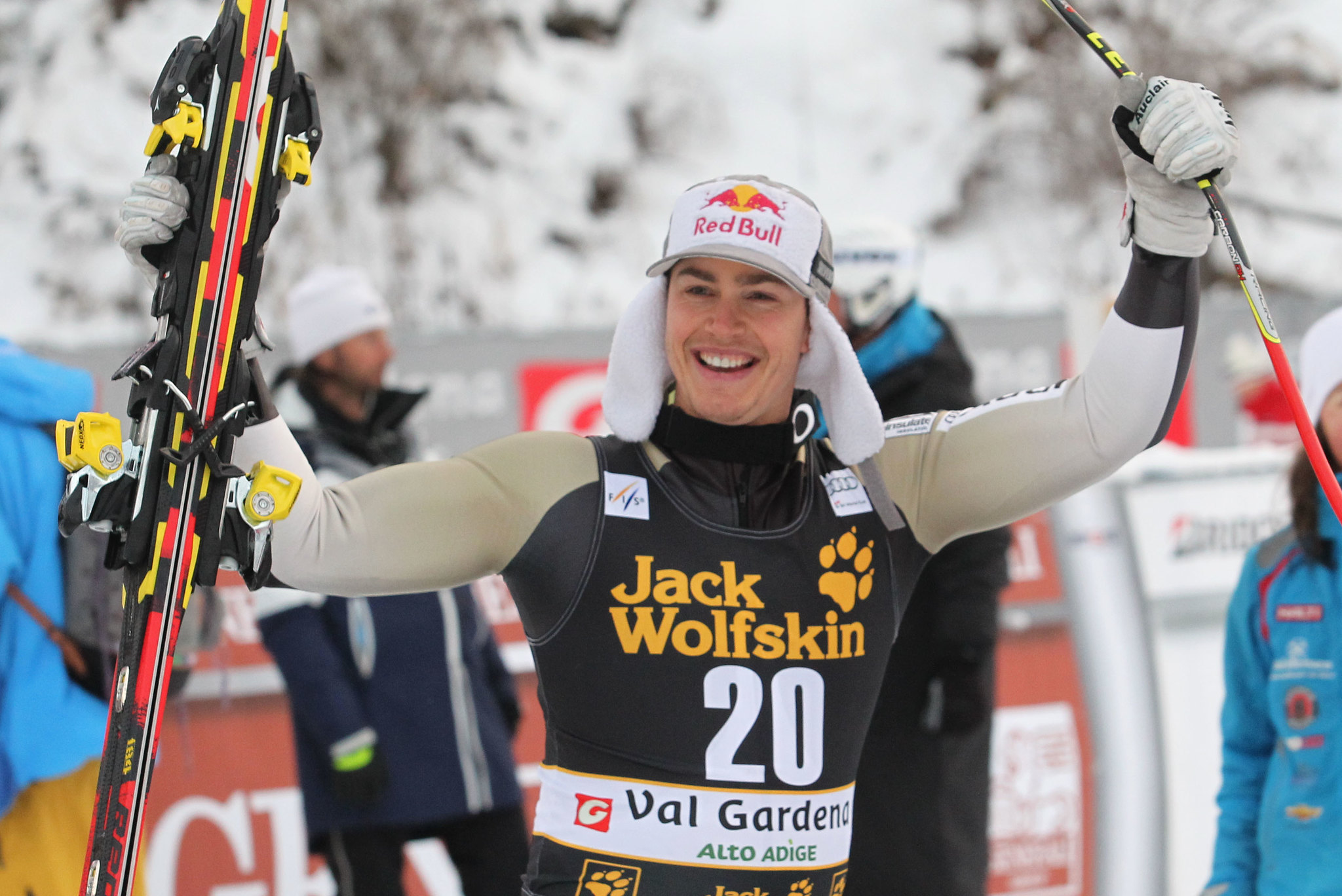 Erik Guay finishes third in World Cup downhill in Val Gardena, Italy.