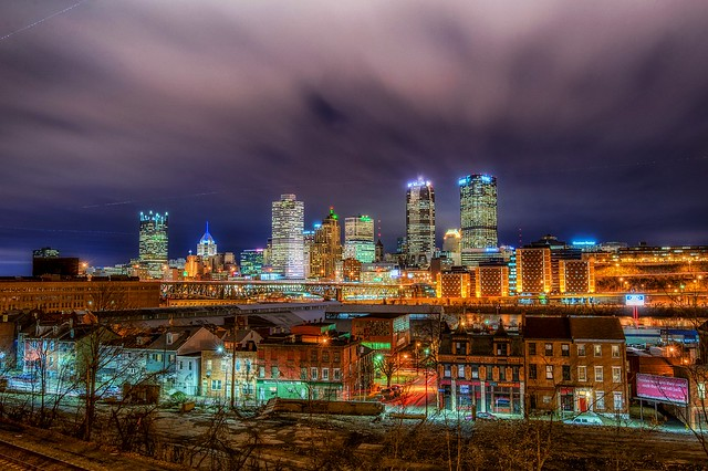 The Pittsburgh skyline and East Carson Street are seen here from the PJ McCardle Roadway HDR