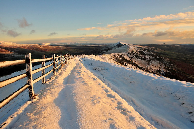 Snow on Mam Tor and the great ridge during a beautiful sunrise in the Peak District, derbyshire