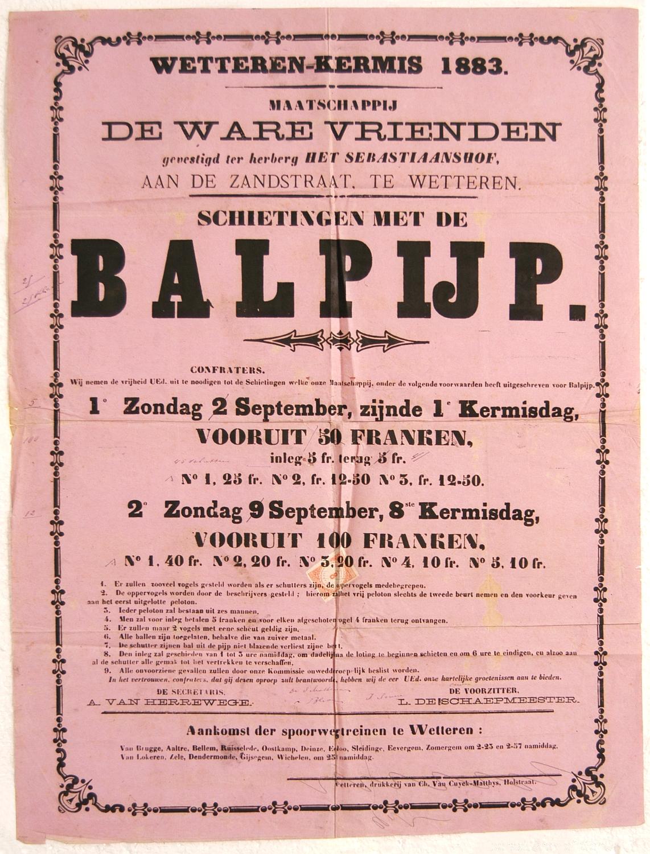 Balpijp schieten, 1883