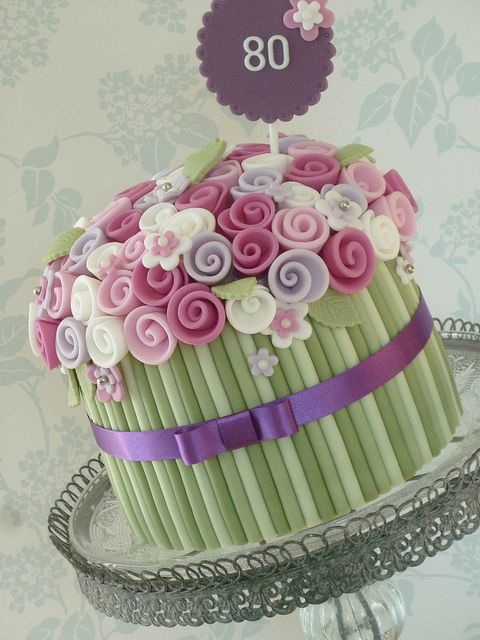 Single Tier Bouquet Cake by The Designer Cake Company