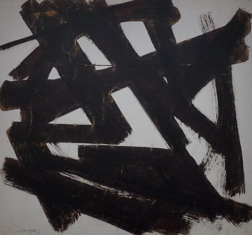 """Pierre Soulages (né en 1919) """"Brou de noix 60,5 cm * 65,5 cm"""" (1974) musée des Beaux-Art de Lyon (Rhône, France) Lyon (Rhône, France) by Denis Trente-Huittessan"""