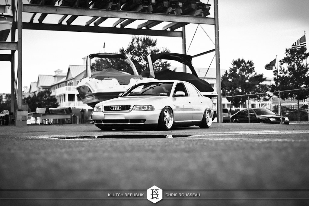 marc miller silver audi b5 a4 1.8t quatro euro rpc pilished gold gotti's airride stanced fitted fitment hellaflush stretched tires camber stance stanced seen on klutch republik by chris rousseau photography.