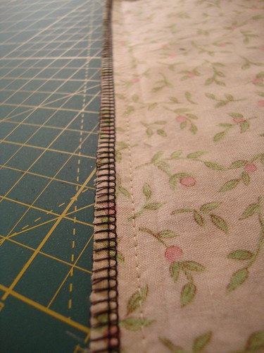 serged inside seam of pillowcase