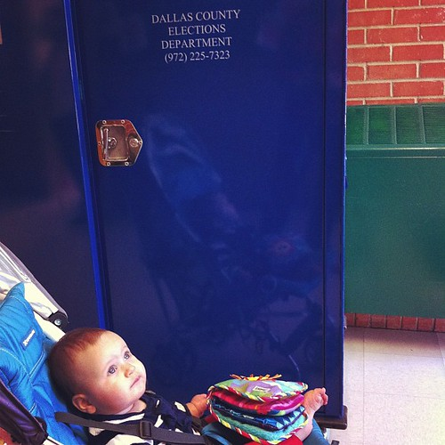 No freakin' stickers {AGAIN...COME ON DALLAS CO.!}, so this shall have to do... Baby's First Voting Experience! #election2012