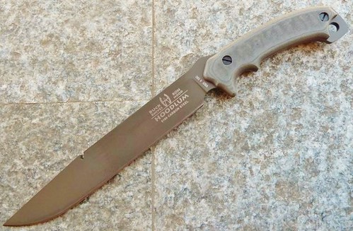"Buck 060 Buck/Hood Hoodlum Survival Knife Fixed 10"" Carbon Steel Blade, Micarta Handles"