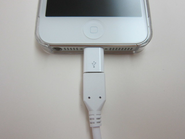 Apple Lightning to Micro USB Adapter - Plugged Into iPhone 5