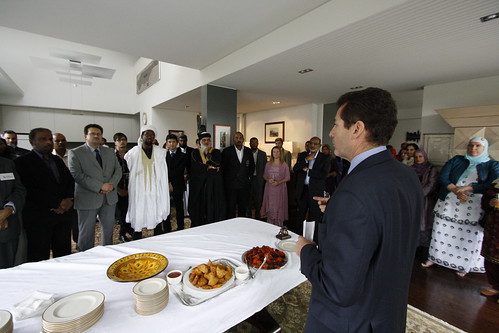 Consul General Jim Donegan with Muslim guests at a 2013 Eid lunch at his house in Auckland.