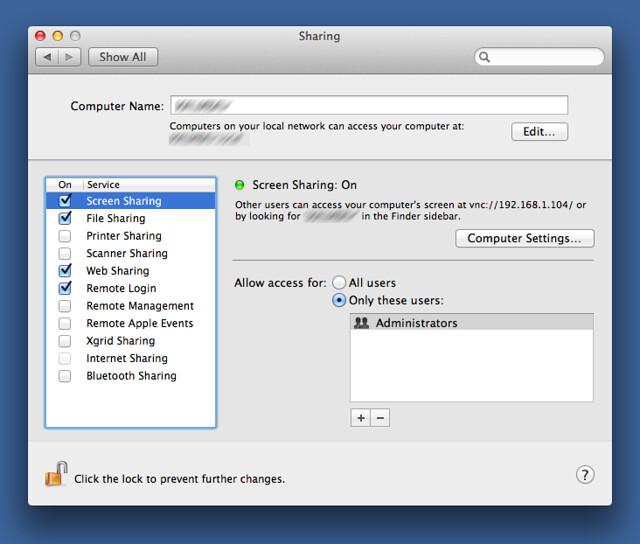 Screen Sharing Preference Pane