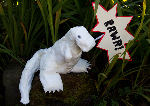 Create a 2 foot-high dinosaur out of sanitary napkins
