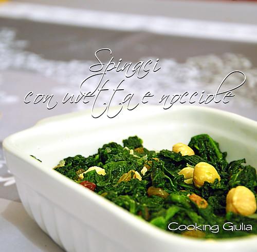 Spinaci con uvetta e nocciole contorno veloce ricetta light for Cucinare spinaci