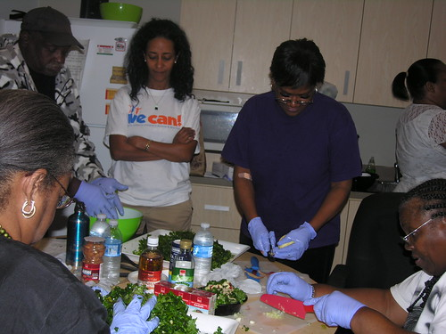 making kale salad at walker jones clinic 5 - oct 2012