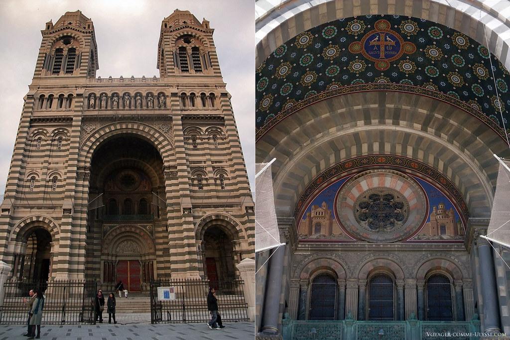 A gauche, la façade de la Major, et à droite, la voûte du porche, avec ses mosaïques représentant Jérusalem et Bethléem de chaque coté de la rosace.