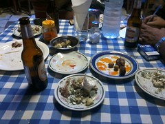 Beers, grilled quail, quail eggs and awesome sausage