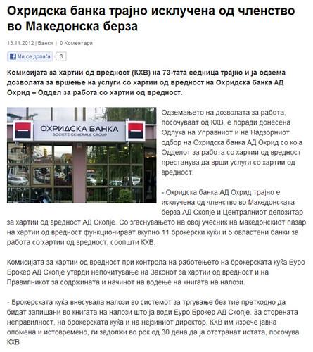 Охридска Банка Трајно Исклучена од Членство во Македонска Берза