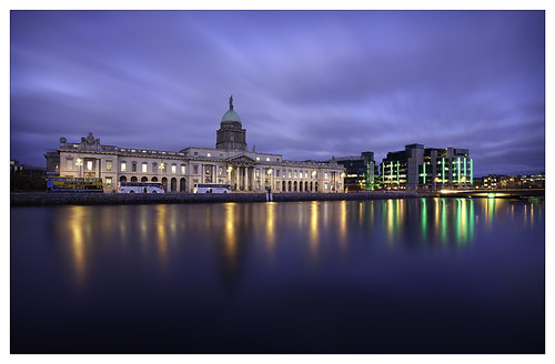 city ireland light sunset dublin cloud house reflection building wet water architecture clouds reflections river lights evening sundown cloudy dusk centre trails historic liffey ifsc dome northside government bluehour custom quays financial services postsunset departmentoftheenvironment irishfinancialservicescentre