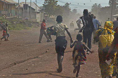 Congolese fleeing from the eastern city of Goma which was reportedly siezed by the M23 rebel group. The UN Security Council has condemned the rebel actions although peacekeepers dispatched by the world body were in the area. by Pan-African News Wire File Photos