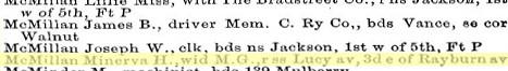 Minerva H Worsham 1885 Memphis