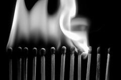 [フリー画像素材] バックグラウンド, 火・炎, モノクロ, マッチ ID:201211281800