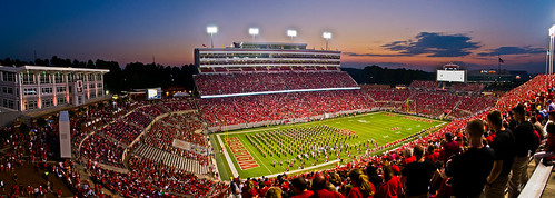 sunset game evening football nikon unitedstates stadium pano crowd northcarolina raleigh event marchingband wolfpack ncstate ncstateuniversity d3100
