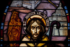 vitrail de l'église St Blaise/St Martin à Chaudes Aigues. - Photo of Espinasse