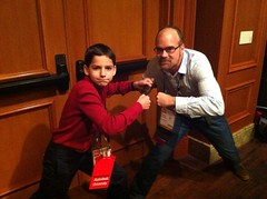 12 year old energetic Maker Schuyler St.Leger and me readying for our cage match at Autodesk University 2012 #AU2012