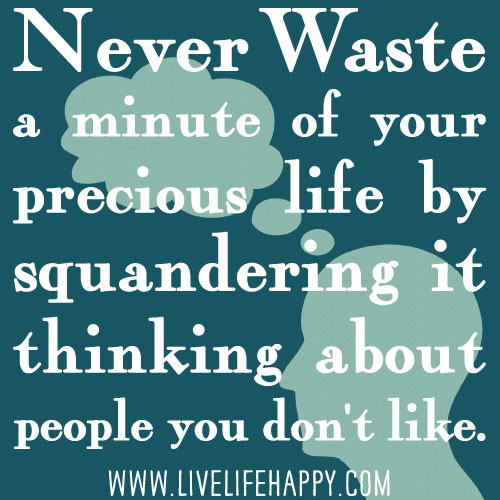 Never waste a minute of your precious life by squandering it thinking about people you don't like.