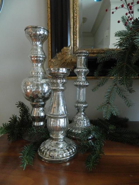 trio of silvered candlesticks via homeologymodernvintage.com