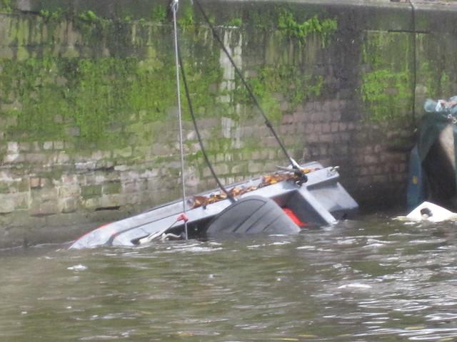 overturned boat in Amsterdam