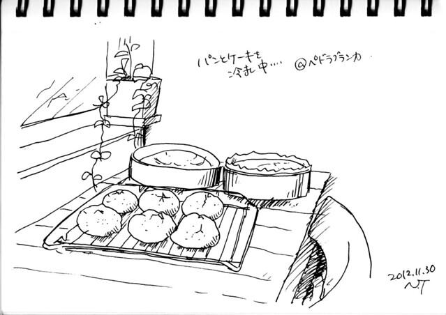カフェ店内にて:冷まし中のパンとケーキ