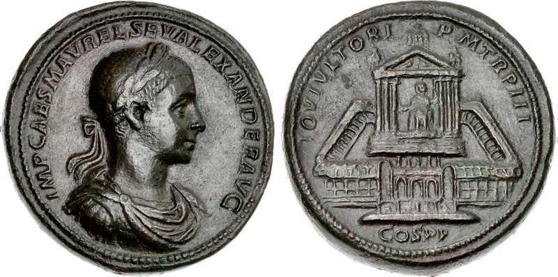 A Unique and Important Roman Orichalcum Medallion of Severus Alexander (222-235 C.E.), Depicting the Newly Converted (from the Elagabalium) Temple of Jupiter Ultor on the Reverse