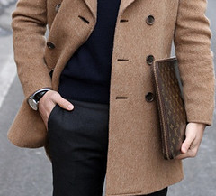 wool(0.0), collar(0.0), leather(0.0), textile(1.0), brown(1.0), clothing(1.0), khaki(1.0), outerwear(1.0), overcoat(1.0), jacket(1.0), pocket(1.0), coat(1.0), trench coat(1.0),