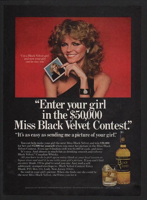 7d50c0dc422be Details about 1977 BLACK VELVET Canadian Whisky - CHERYL TIEGS - CYBILL  SHEPHERD VINTAGE AD
