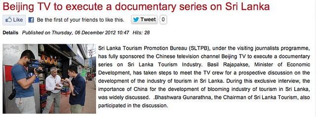 Beijing TV to execute a documentary series on Sri Lanka