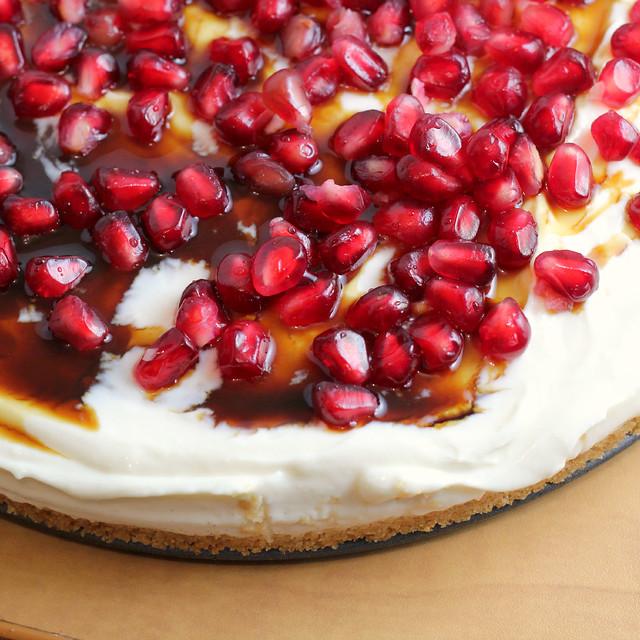 Greek Yogurt Cheesecake with Pomegranate Syrup {GIVEAWAY} | Joanne ...