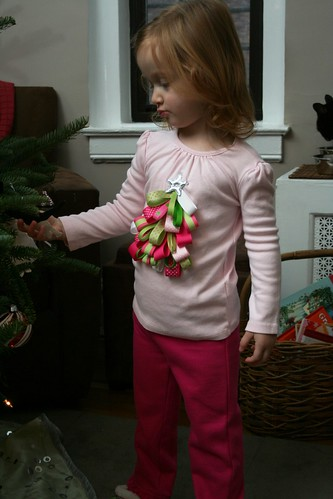 Modeling her new shirt made by Grammie