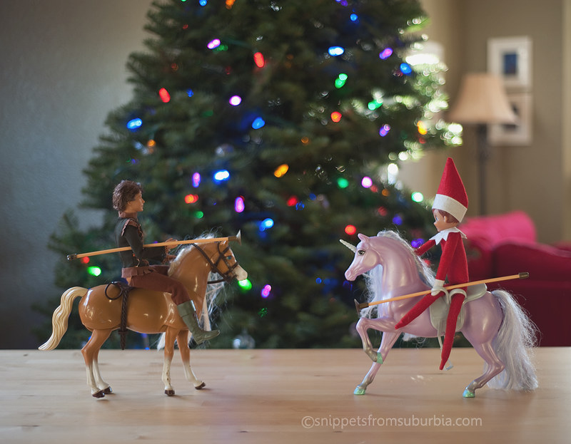 Jousting Elf on the Shelf. Click for more ideas! #elfontheshelf