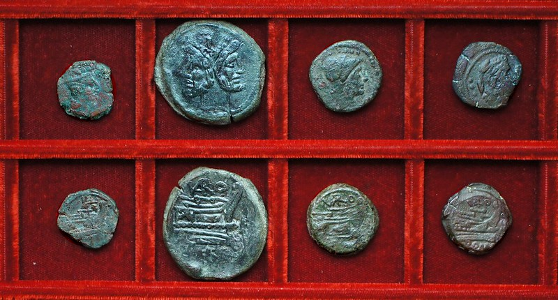 RRC 185 VARO Terentia bronzes, RRC 184 butterfly and vine sextans, Ahala collection, coins of the Roman Republic