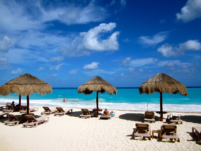relaxing on cancun beach