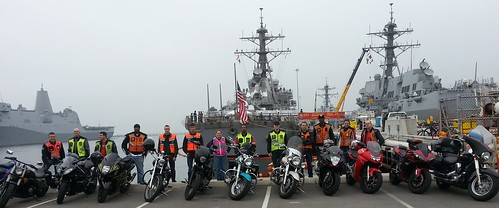 USS Higgins sailors pose for a picture with their bikes