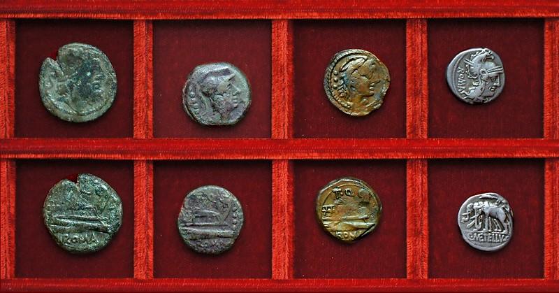 RRC 267 T.Q. Quinctia bronzes, RRC 269 C.METELLVS Caecilia denarius, Ahala collection, coins of the Roman Republic