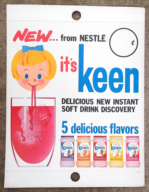 1963 Nestle's KEEN Drink Mix Store Display Sign